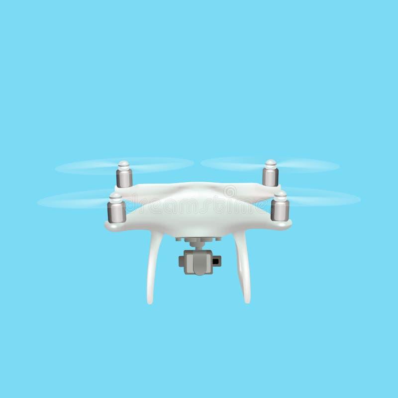 Quadrocopter réaliste de bourdon avec le vol d'appareil-photo dans le ciel illustration libre de droits