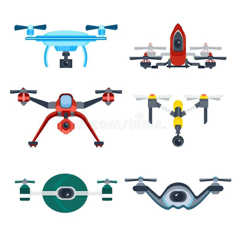 Quadrocopterhommel met het Vectorpictogram van het Camerabeeldverhaal royalty-vrije illustratie