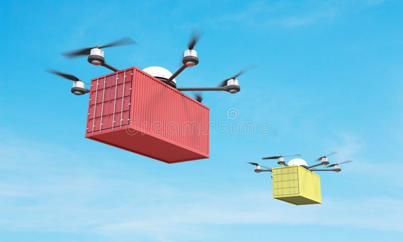 2 quadrocopters с грузом бесплатная иллюстрация