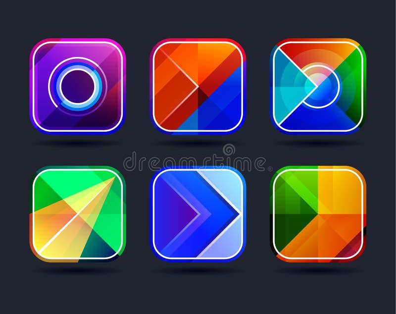 Quadros abstratos dos ícones do app ilustração royalty free