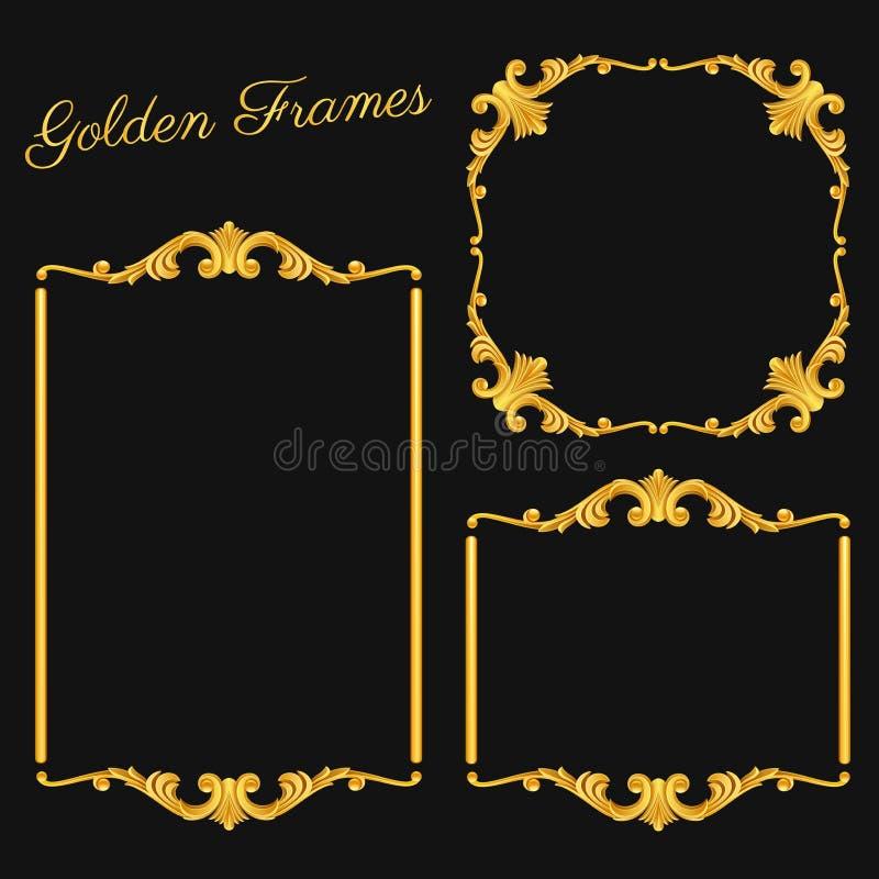 Quadros ajustados do ouro do vintage no fundo escuro ilustração royalty free