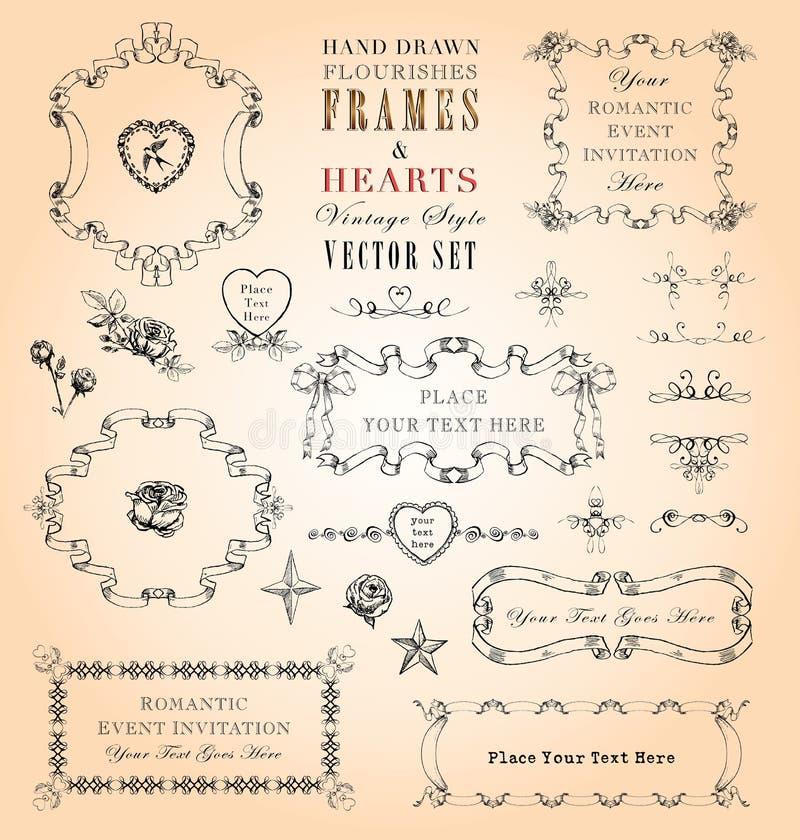 Quadros & jogo do vetor dos corações ilustração royalty free