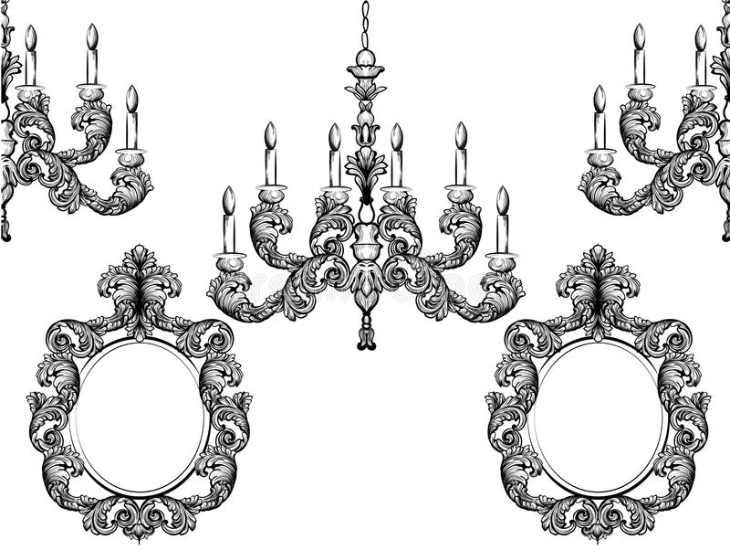 Quadros barrocos do candelabro e do espelho Linha gráfica arte da ilustração rica detalhada do vetor do ornamento ilustração stock
