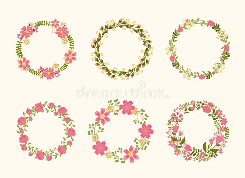 Quadros bonitos da grinalda do vetor para convites do casamento ilustração stock