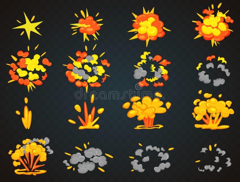 Quadros chaves da animação da explosão dos desenhos animados da bomba Ilustração do vetor da opinião superior e dianteira do golp ilustração royalty free