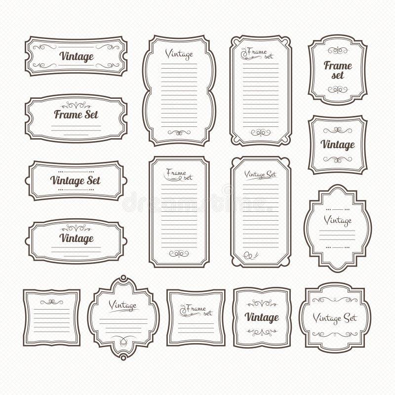 Quadros clássicos do vintage ajustados Isolado das beiras do vetor no branco ilustração stock