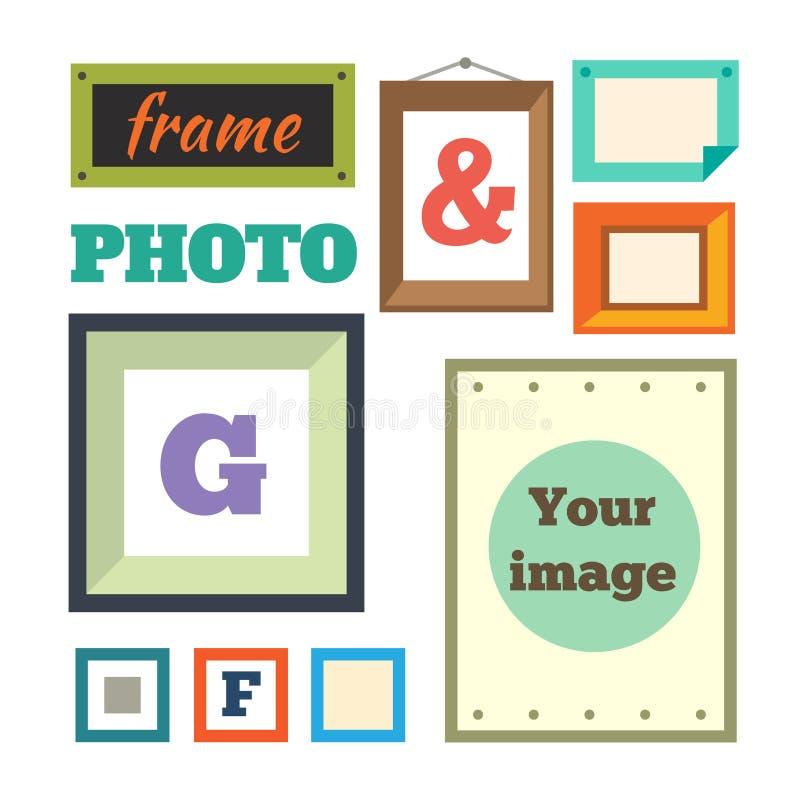 Quadros coloridos diferentes da foto ilustração do vetor