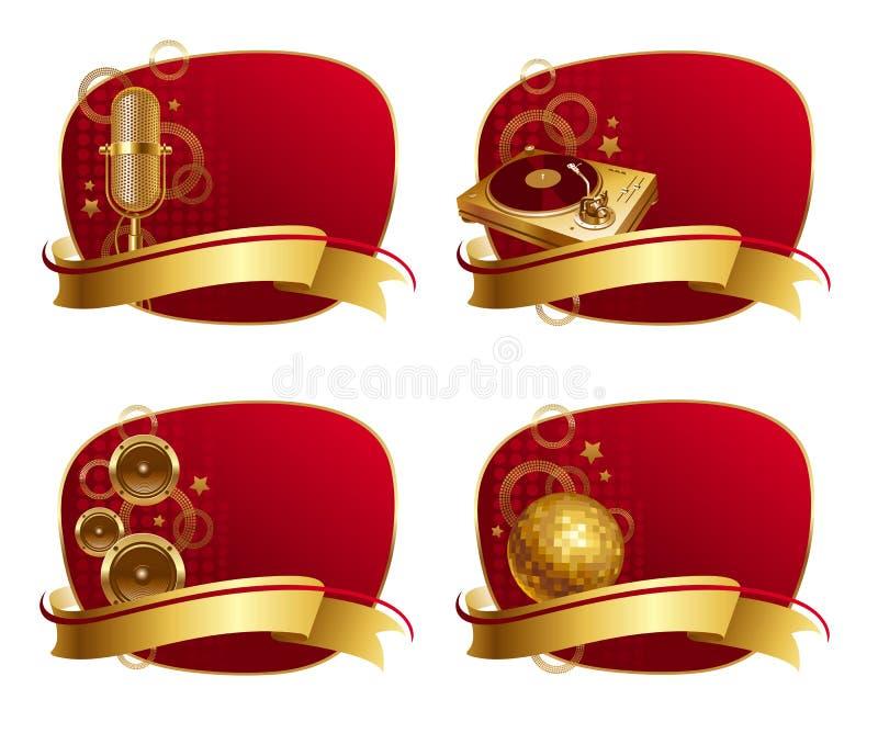 Quadros com equipamentos musicais dourados ilustração do vetor