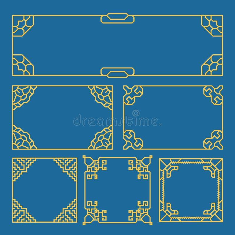 Quadros coreanos, chineses, japoneses do vintage, beiras, escova do teste padrão Grupo do vetor do estilo de Ásia ilustração royalty free