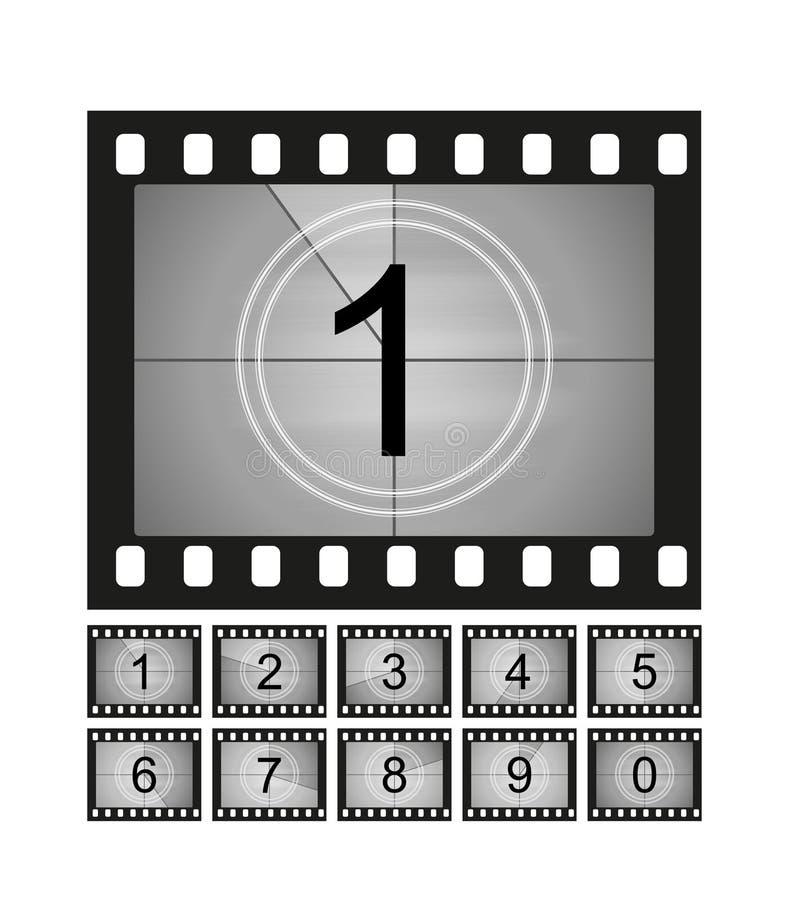 Quadros da contagem regressiva do filme ajustados Contagem velha do temporizador do cinema do filme ilustração royalty free