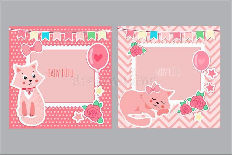 Quadros da foto para crianças Molde decorativo para o bebê Ilustração do vetor do álbum de recortes ilustração stock
