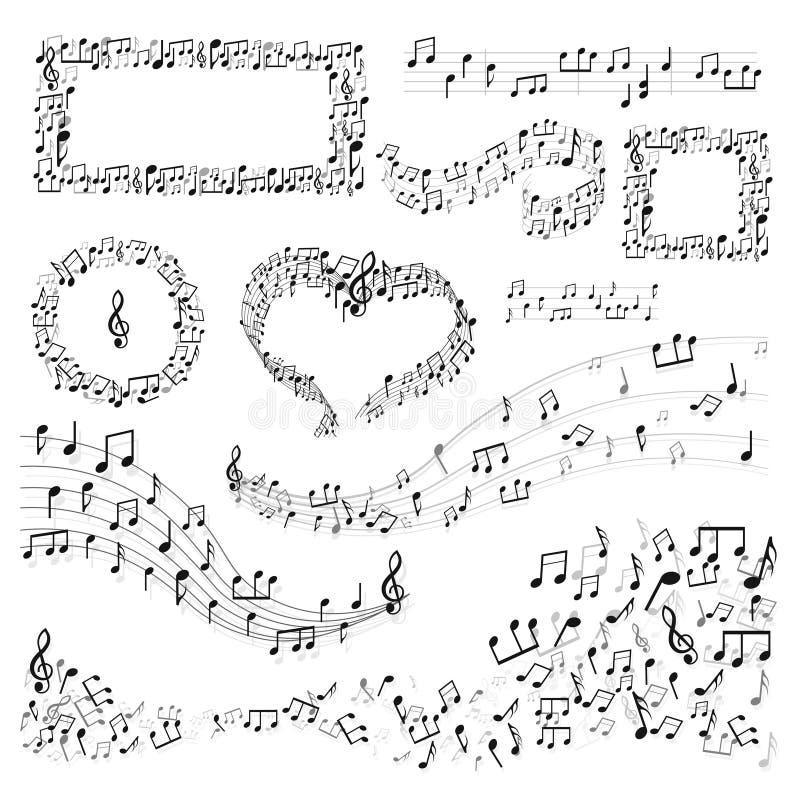 Quadros da nota e melodia ou música da arte da música da decoração ilustração royalty free