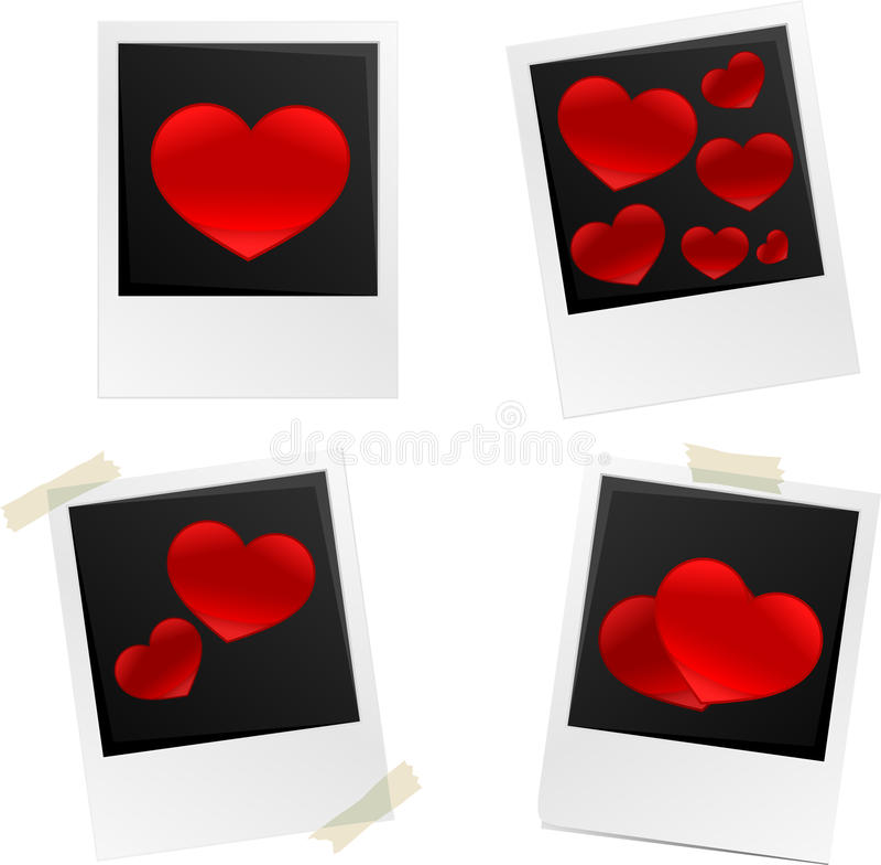 Quadros das fotos do coração ilustração do vetor