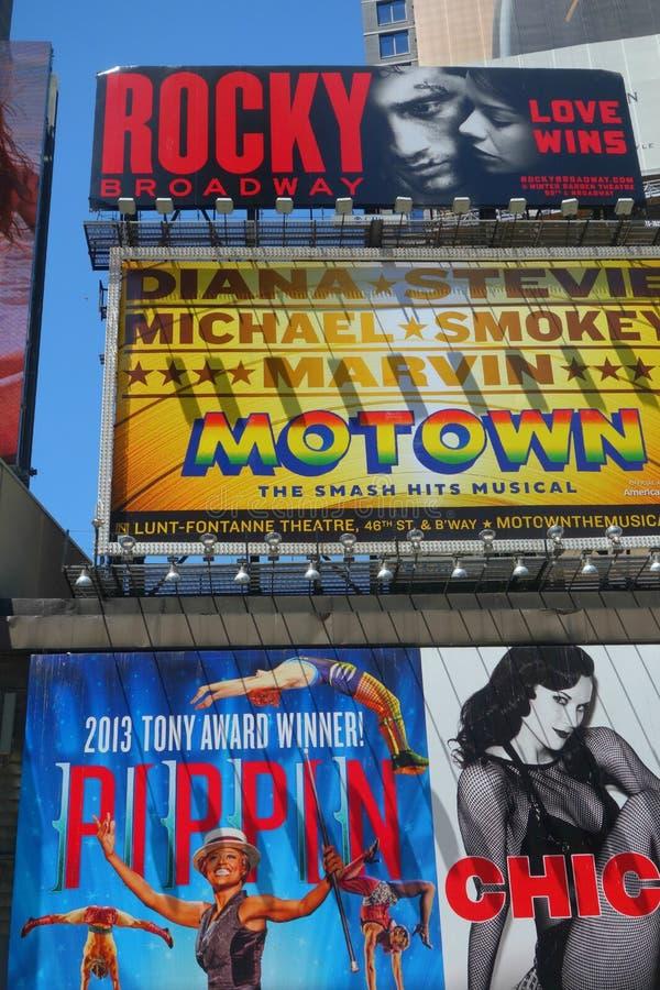 Quadros de avisos de Broadway fotografia de stock