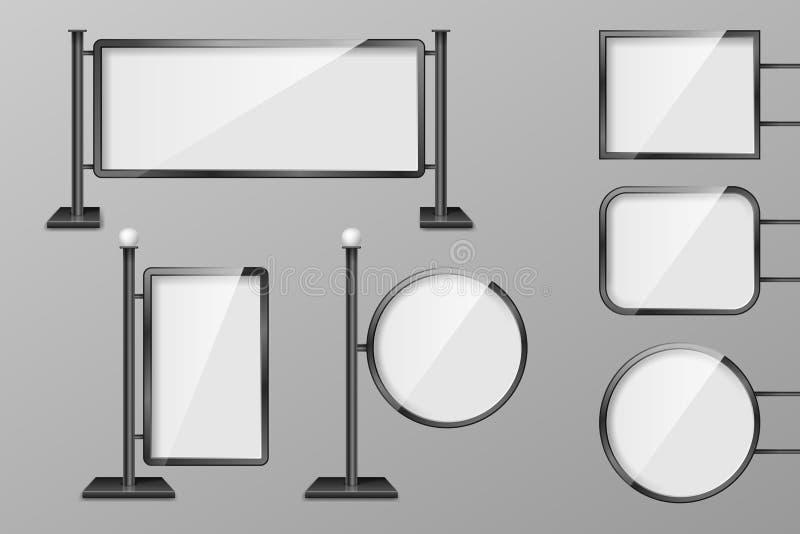Quadros de avisos exteriores da iluminação do retalho 3d Grupo de molde das caixas leves Placas realísticas para o anúncio e o pr ilustração do vetor