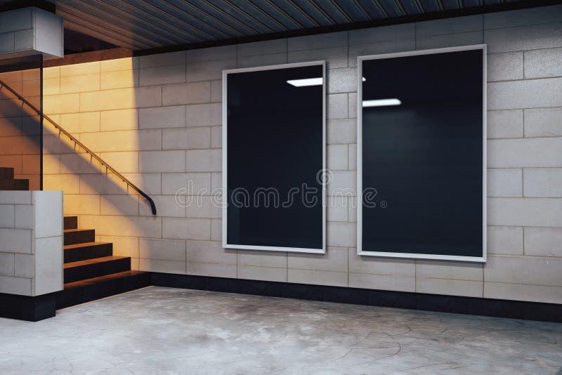 Quadros de avisos pretos vazios no salão vazio do metro ilustração stock