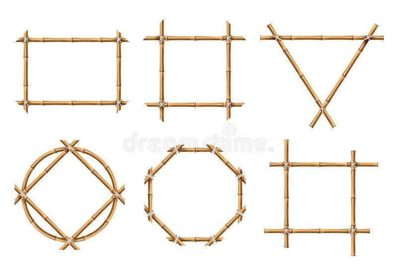 Quadros de bambu Bandeiras de madeira da vara de várias formas Grupo isolado do vetor do sinal quadro de bambu rústico japonês ilustração do vetor