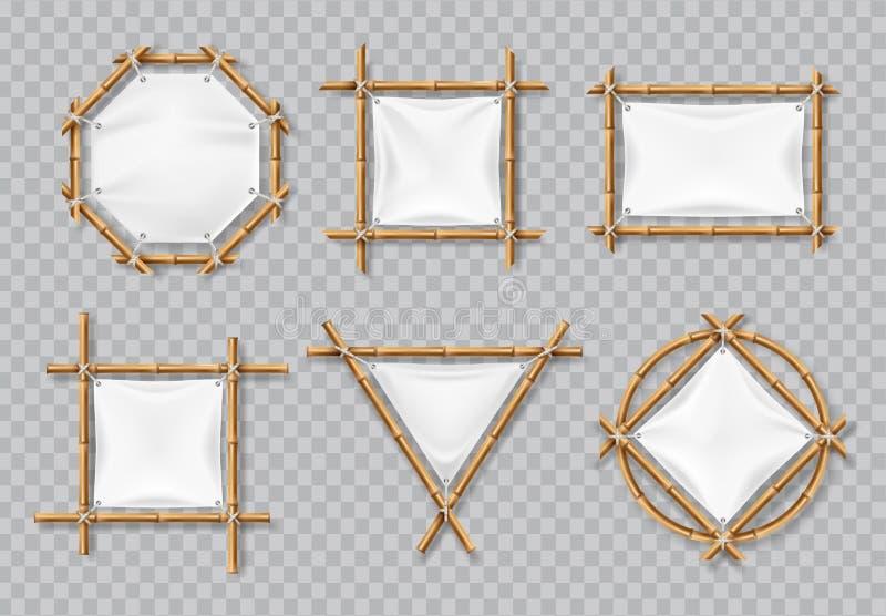 Quadros de bambu com lona branca Sinais de bambu chineses com as bandeiras vazias de matéria têxtil Grupo isolado do vetor ilustração do vetor