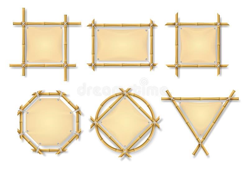 Quadros de bambu A vara de madeira chinesa assina com as bandeiras vazias do papiro Quadro de avisos velho grupo isolado do vetor ilustração stock