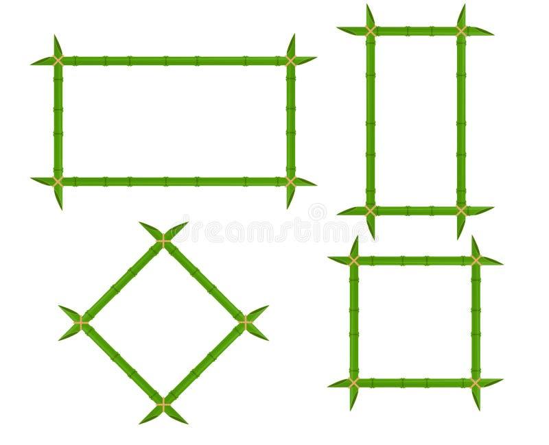 Quadros de bambu verdes ajustados de formas diferentes com cordas e de lugar para o texto Do vetor de madeira do quadro indicador ilustração do vetor