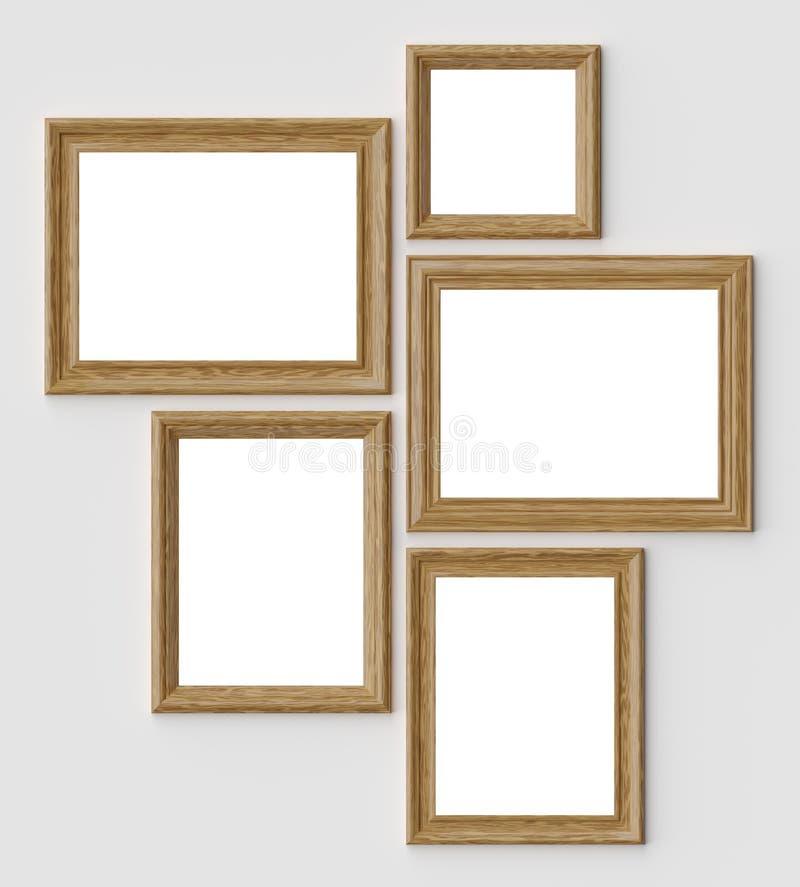 Quadros de madeira da imagem ou da foto na parede branca com sombras com cópia-espaço ilustração royalty free