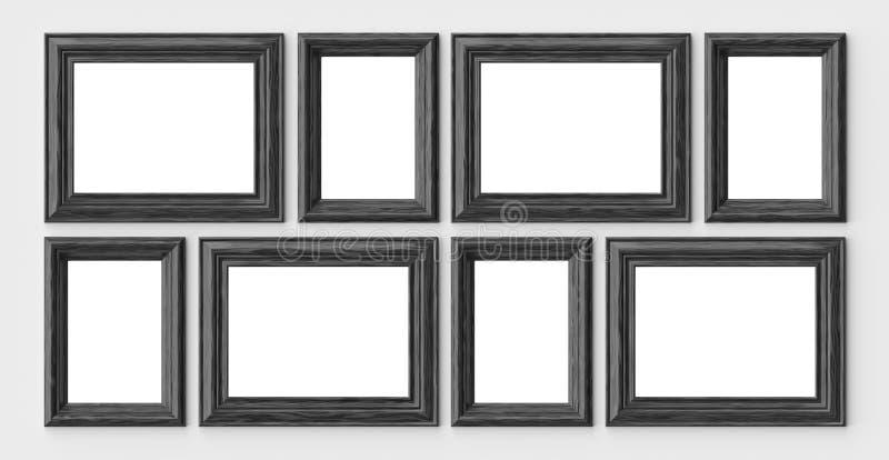 Quadros de madeira pretos para a imagem ou a foto na parede branca com sável ilustração do vetor