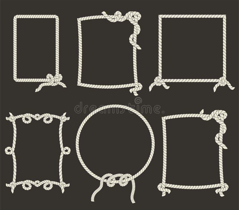 Quadros decorativos da corda no fundo preto ilustração royalty free