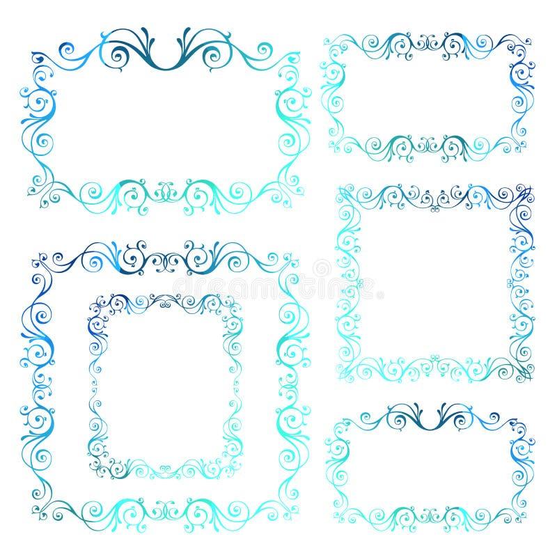 Quadros decorativos do vetor do vintage inverno caligráfico azul Y novo ilustração stock