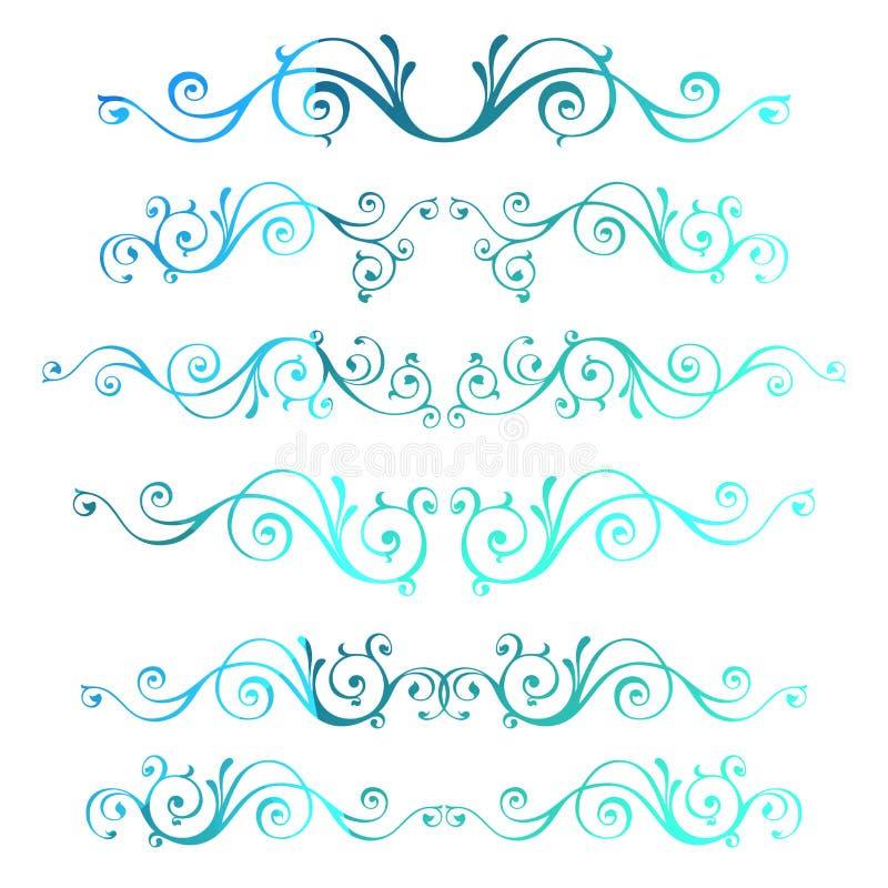Quadros decorativos do vetor do vintage inverno caligráfico azul Y novo ilustração do vetor