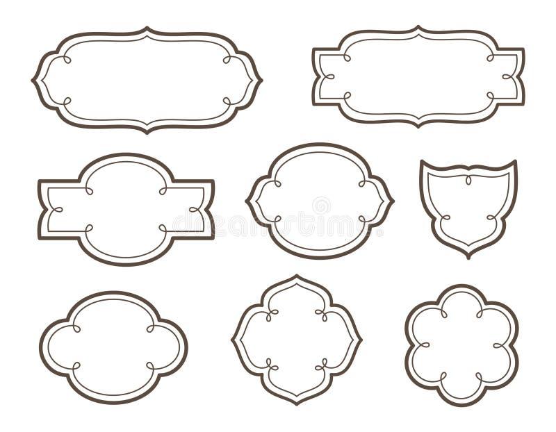 Quadros decorativos do vetor para logotipos e nomes ilustração royalty free