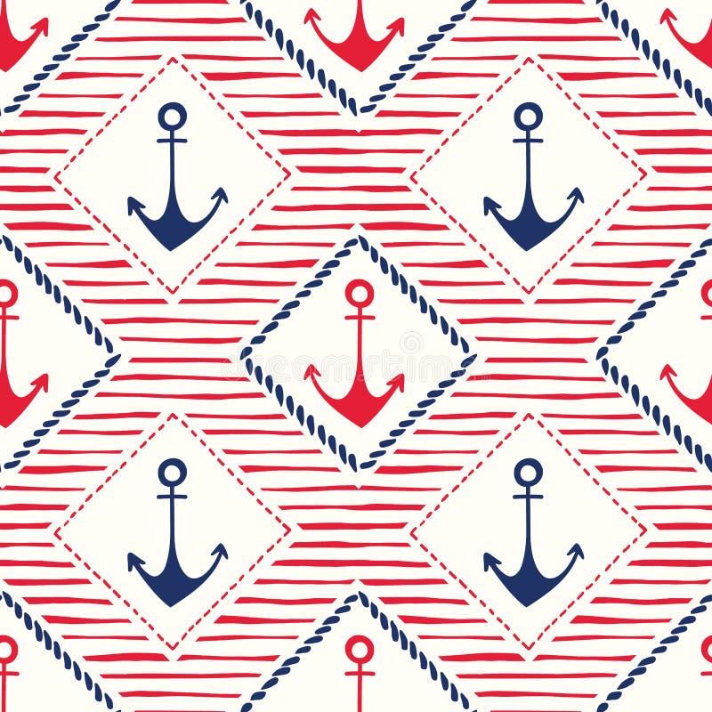 Quadros desenhados à mão da corda com âncoras e teste padrão sem emenda do vetor das listras Marine Background azul e vermelha ilustração do vetor