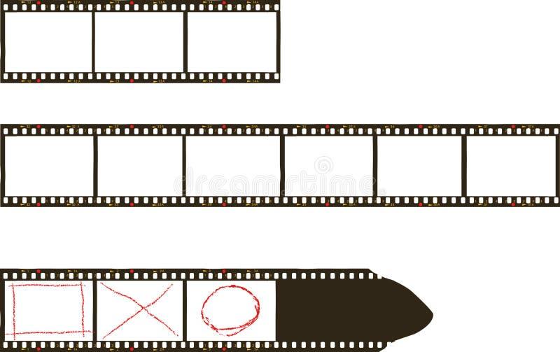 Quadros do filme, quadros de filme sujos da foto, diafilmes com espaço da cópia gratuita, vetor, arte finala imaginária ilustração royalty free