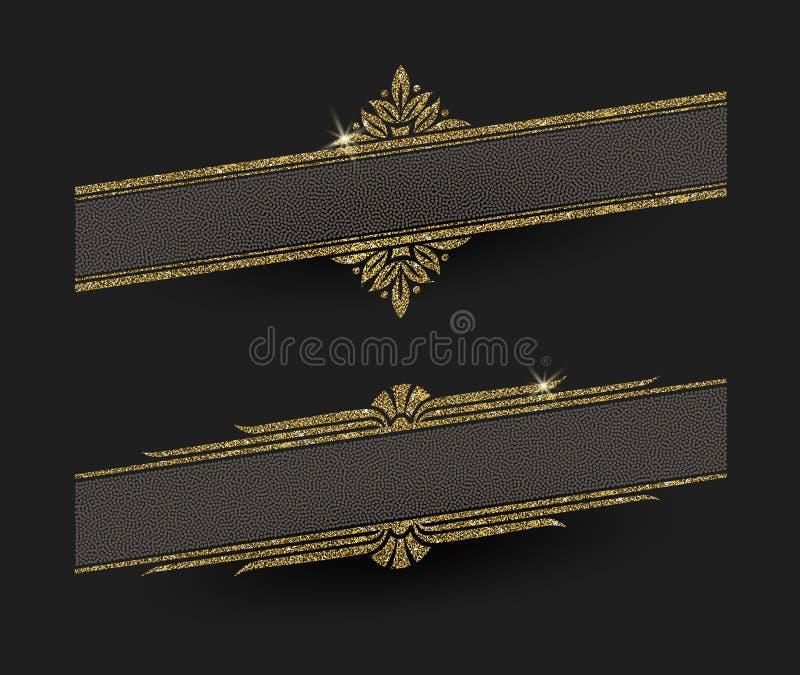 Quadros do ouro do brilho ilustração royalty free