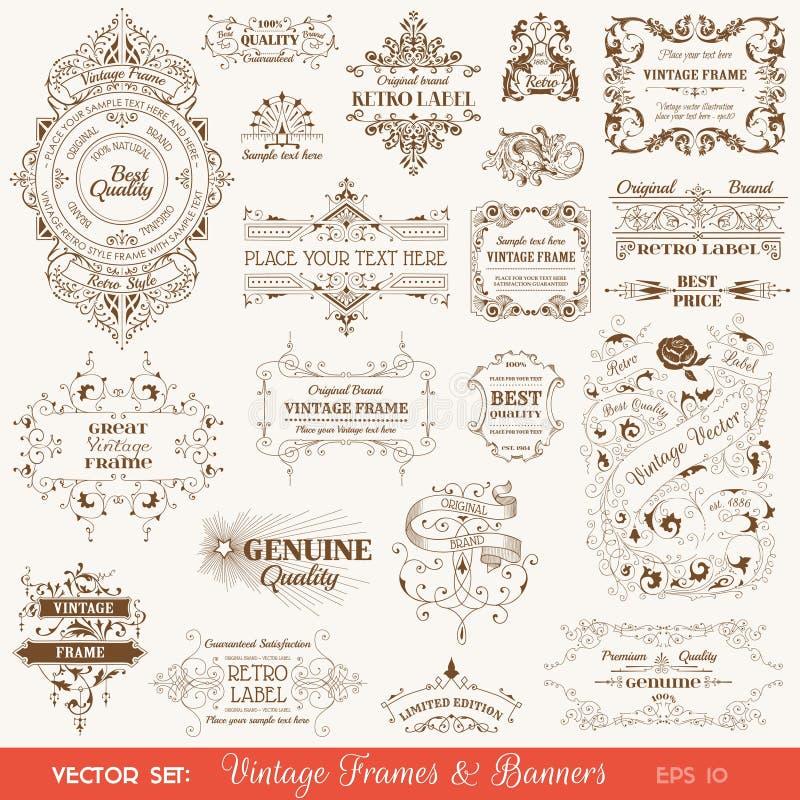 Quadros do vintage e bandeiras, elementos caligráficos ilustração stock