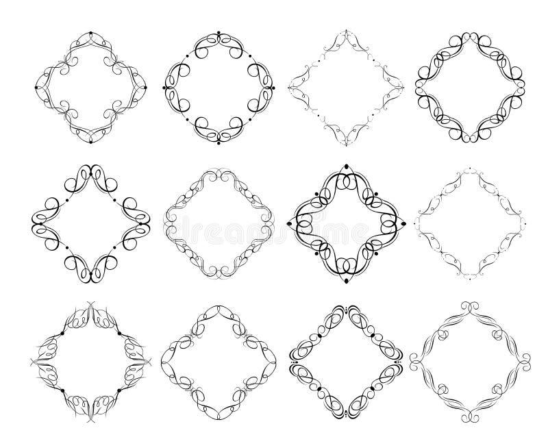 Quadros do vintage e coleção caligráficos da vinheta para o projeto heráldico e do casamento, etiquetas da forma, restaurante, ca ilustração royalty free
