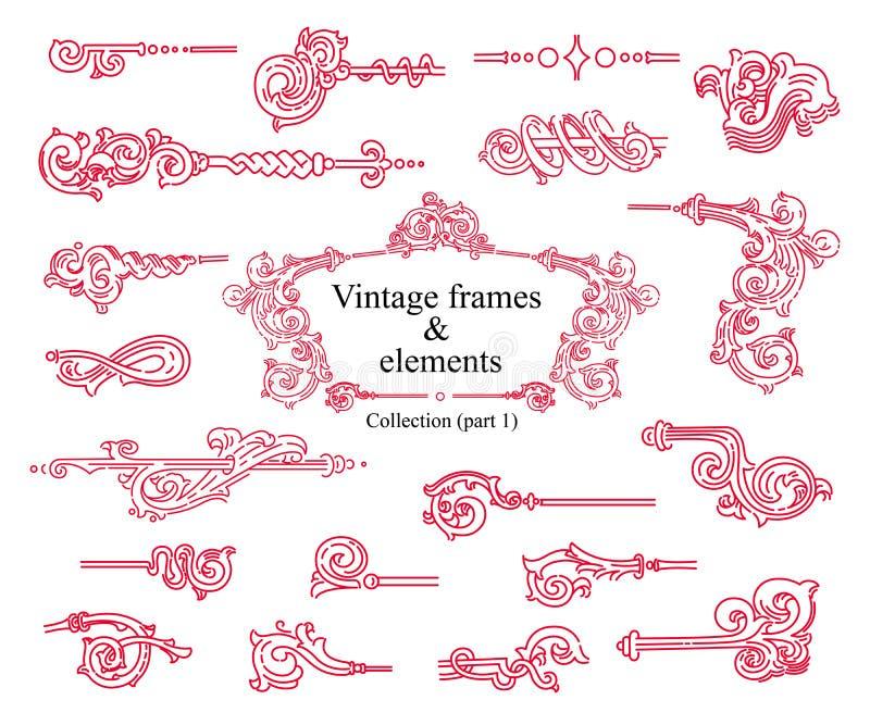 Quadros do vintage e elementos, testes padrões do vetor Coleção, parte 1 ilustração stock