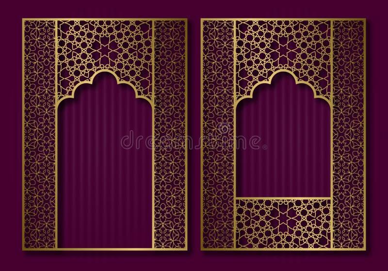 Quadros do vintage no formulário da porta oriental e da janela Projeto dourado do contexto do folheto, do livro ou da tampa do ca ilustração do vetor