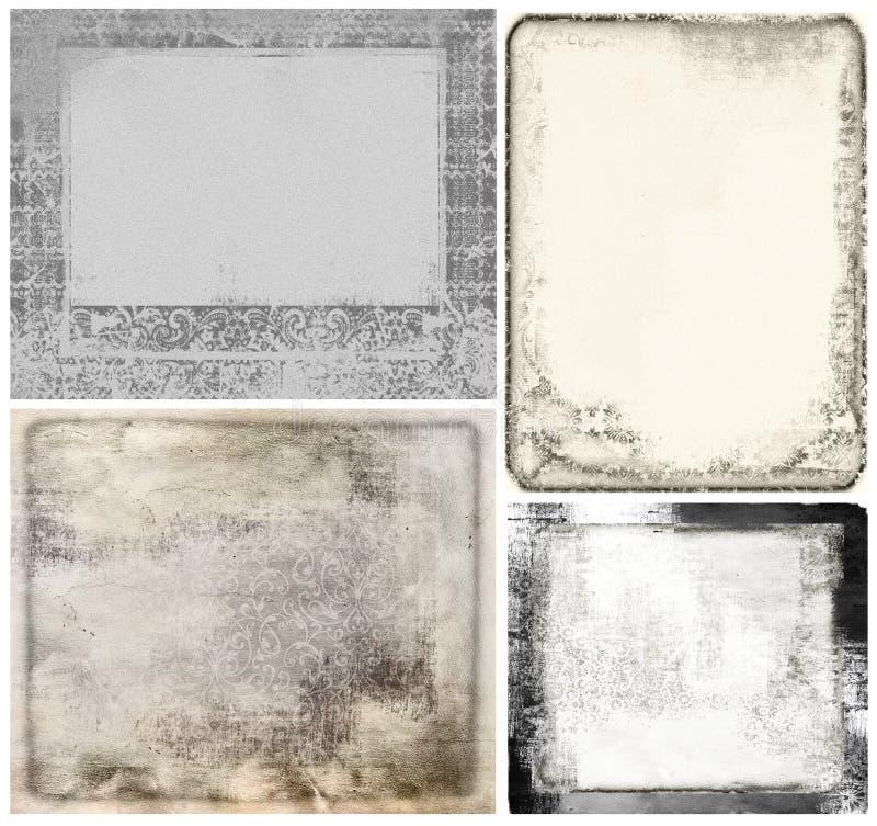 Quadros do vintage, papel da textura do grunge ilustração stock