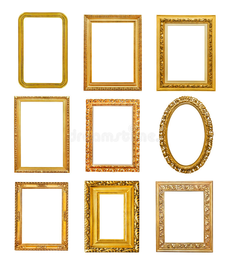 Quadros dourados da forma diferente fotografia de stock