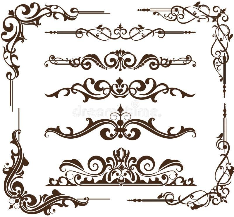 Quadros e cantos decorativos do vintage do vetor ilustração do vetor