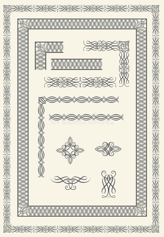 Quadros e elementos caligráficos ilustração do vetor
