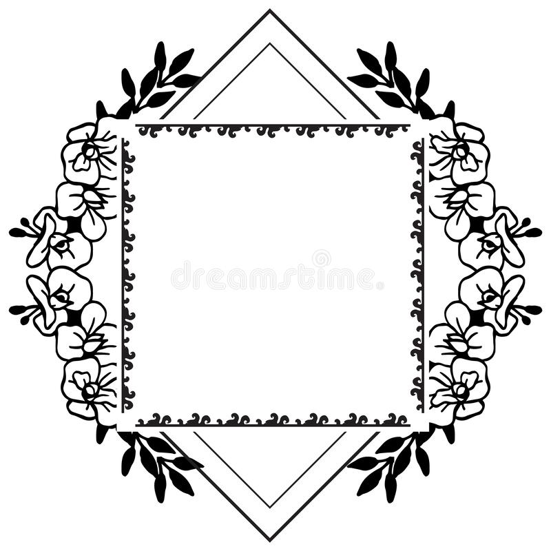 Quadros elegantes do quadrado preto do vintage com o ornamento floral, vário dos cartões Vetor ilustração royalty free