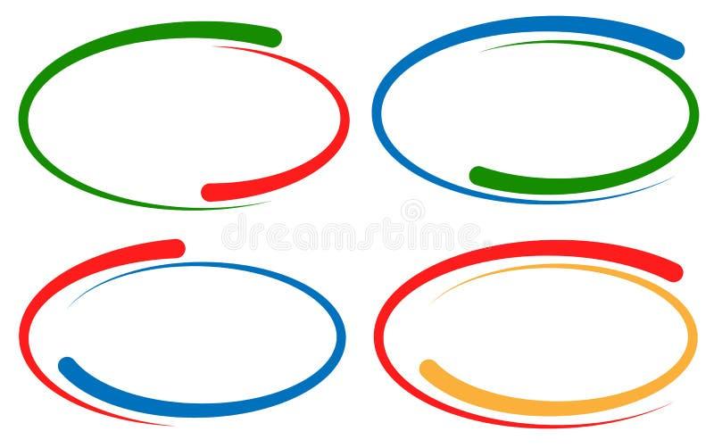 Quadros/elementos circulares coloridos da bandeira Grupo da versão 4 ilustração stock