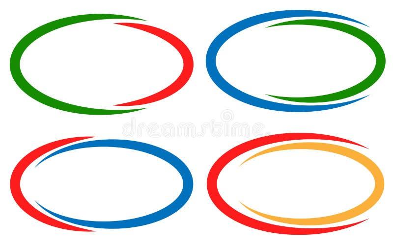 Quadros/elementos circulares coloridos da bandeira Grupo da versão 4 ilustração royalty free