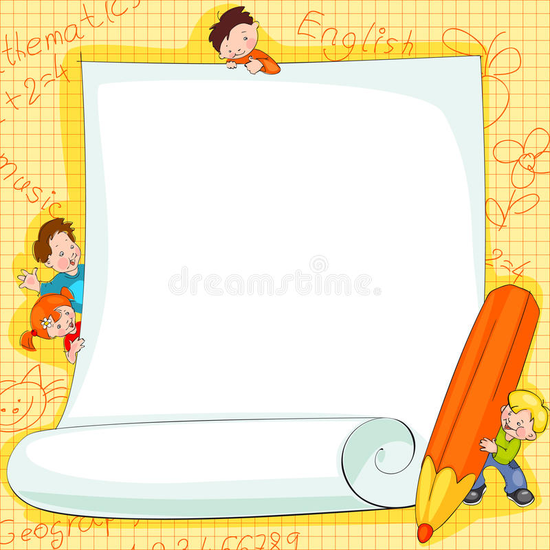 Quadros em miúdos da escola ilustração royalty free
