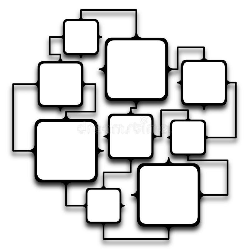 Quadros esquadrados múltiplos ligados junto ilustração stock