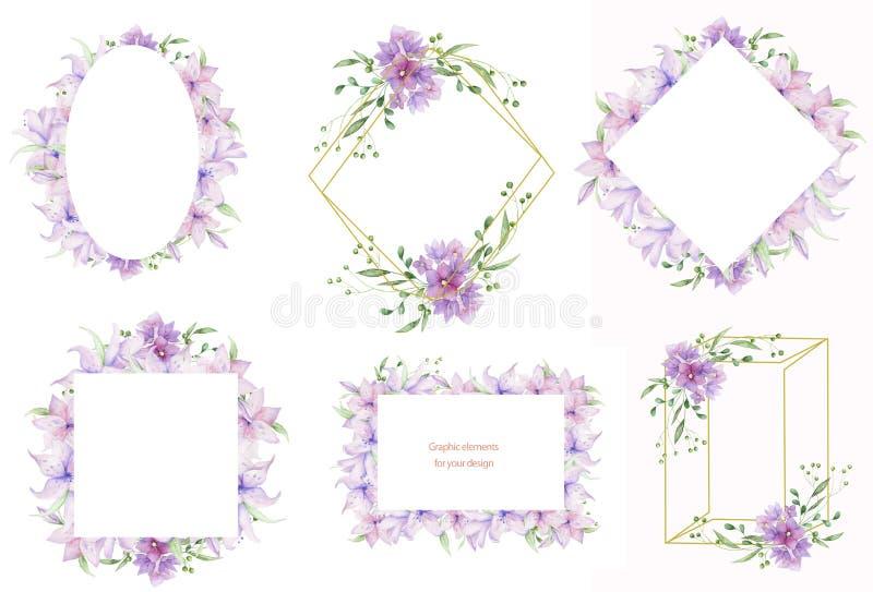 Quadros florais com flores cor-de-rosa e as folhas decorativas Projeto do convite da aquarela horizontal Fundo para salvar a data ilustração stock