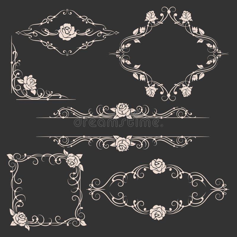 Quadros florais decorativos ajustados ilustração do vetor