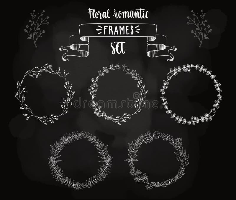 Quadros florais do vintage romântico ilustração royalty free