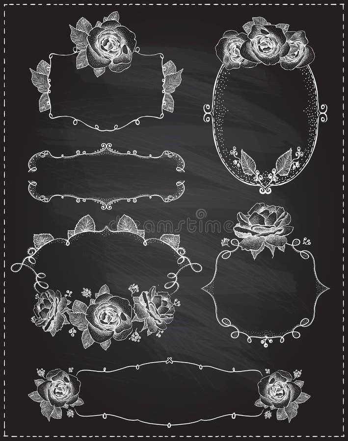 Quadros florais gr?ficos tirados m?o com rosas em um quadro ilustração do vetor